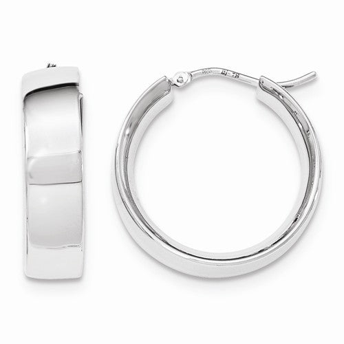 Sterling Silver Rhodium-Plated Polished Hoop Earrings
