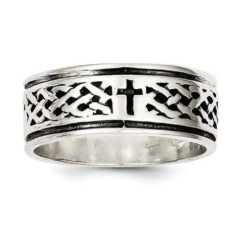 925 Sterling Silver Cross and Weave Mens Band