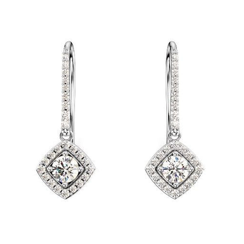 14K White Gold Halo Diamond Earrings