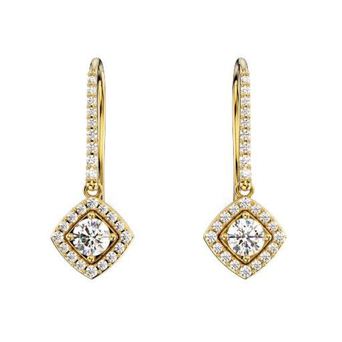 14K Yellow Gold Halo Diamond Earrings