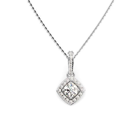 14K White Gold Halo Diamond Necklace