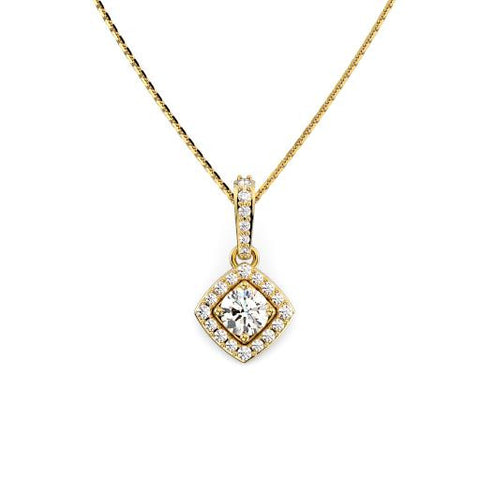 14K Yellow Gold Halo Diamond Necklace