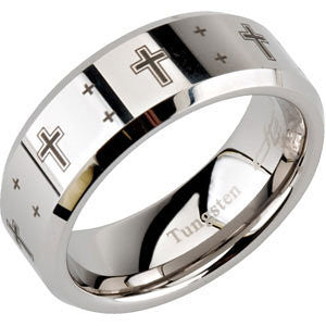 Tungsten Band with Laser Crosses