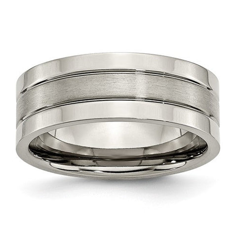 Titanium Grooved and Polished Mens Wedding Band