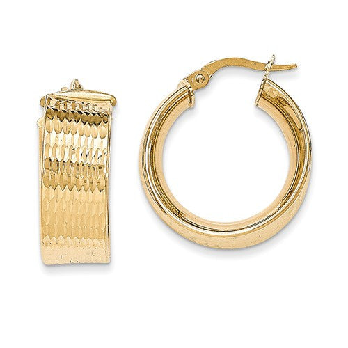 14K Polished And Textured Hoop Earrings