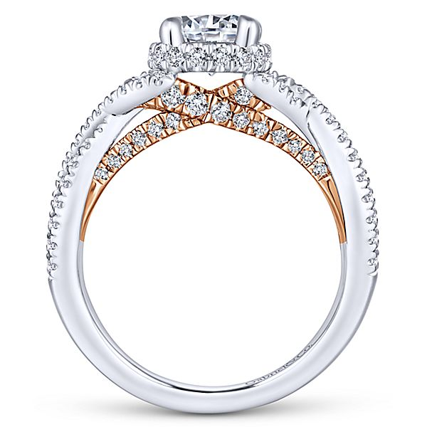 14k White/Rose Gold Round Twisted Engagement Ring