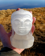 Load image into Gallery viewer, Selenite Buddha Head Carving from India