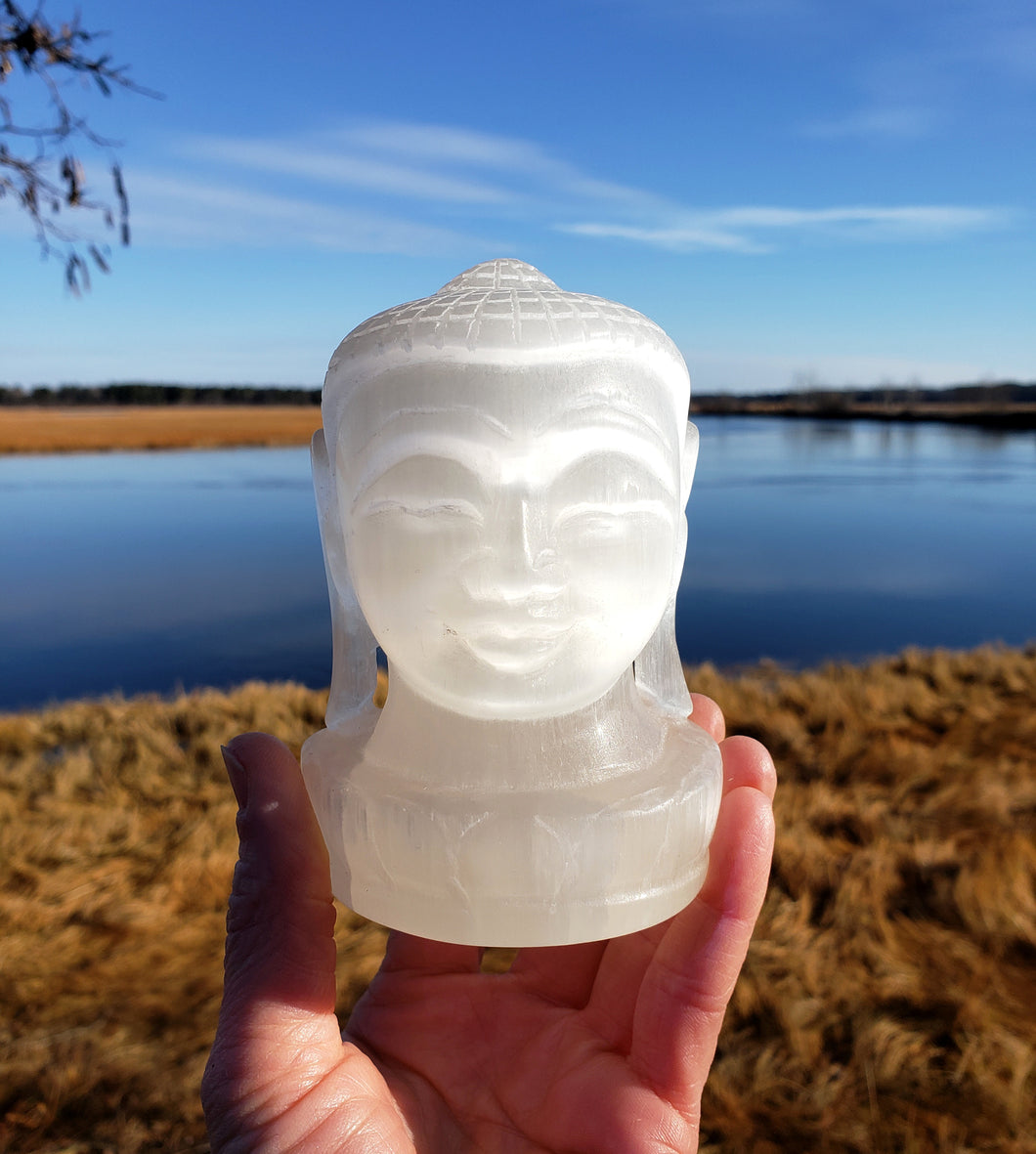 Selenite Buddha Head Carving from India