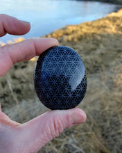 Load image into Gallery viewer, Obsidian Flower of Life Palm Stone