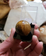 Load image into Gallery viewer, Perky Box Set - Charoite and Tiger's Eye Sphere
