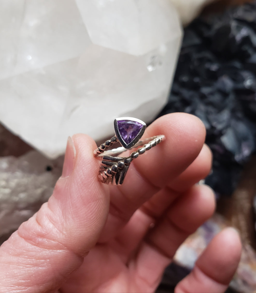 Adjustable Amethyst and Sterling Silver Ring