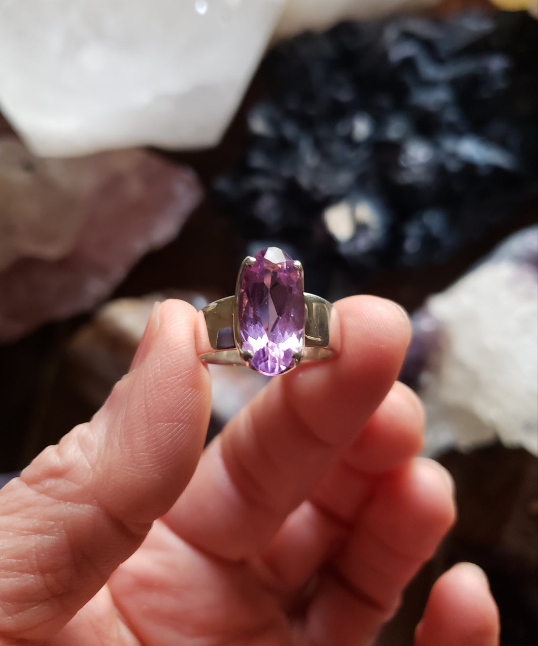 Size 8 Amethyst and Sterling Silver Ring