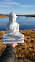 Load and play video in Gallery viewer, Marble Sitting Buddha Carving from India