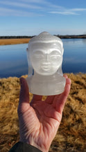 Load and play video in Gallery viewer, Selenite Buddha Head Carving from India