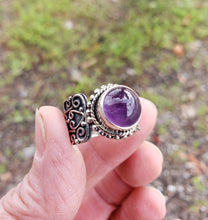 Load image into Gallery viewer, Size 7.75 Amethyst and Sterling Silver Ring