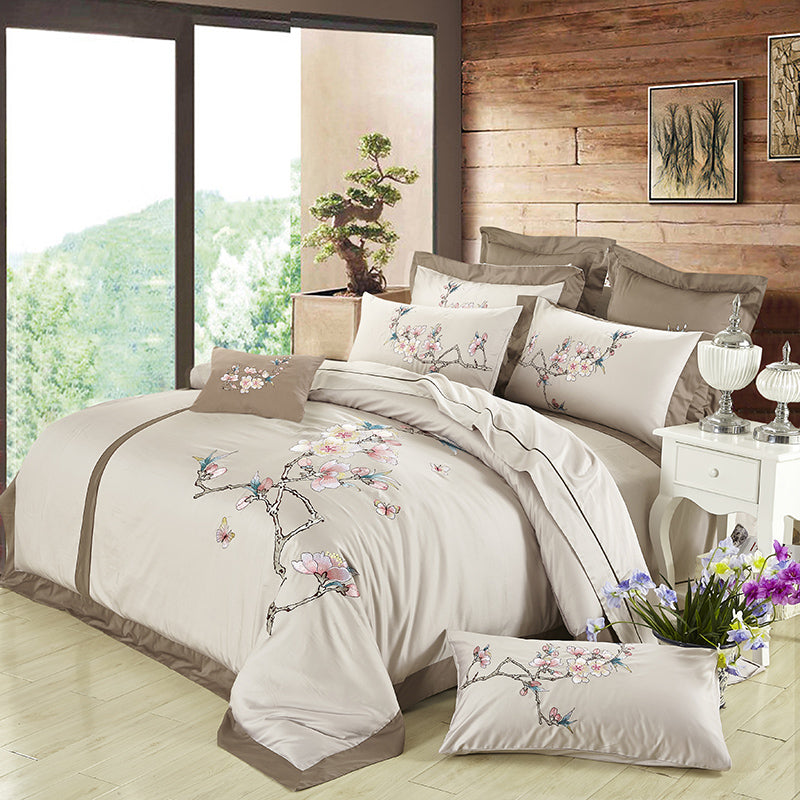 Luxury Silky Embroidery Bedding Cover Set
