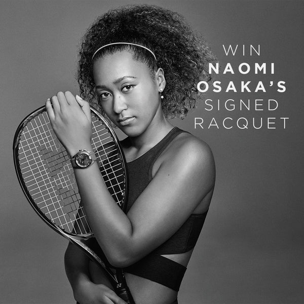Get 1/12 chance of winning a signed Naomi Osaka Yonex tennis racquet when you purchase a Limited Edition Citizen Naomi Osaka Eco-Drive Bluetooth Super Titanium watch. Conditions apply.