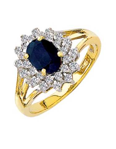 Sapphire Ring - 9ct Two Tone Sapphire and Diamond Ring - 121570