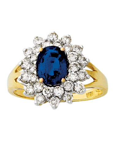 Sapphire Ring - Yellow Gold Natural Sapphire & Diamond Ring - 121573