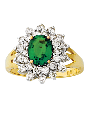 Emerald Ring - Yellow Gold Created Emerald & Diamond Ring - 121590