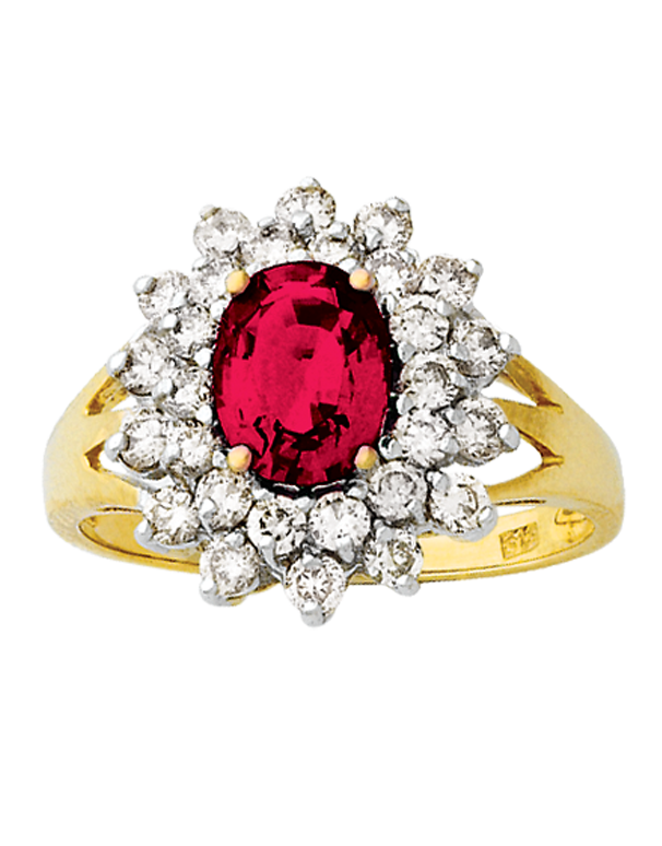 Ruby Ring - Yellow Gold Created Ruby & Diamond Ring - 121610 - Salera's