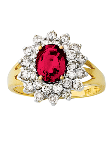 Ruby Ring - Yellow Gold Created Ruby & Diamond Ring - 121610