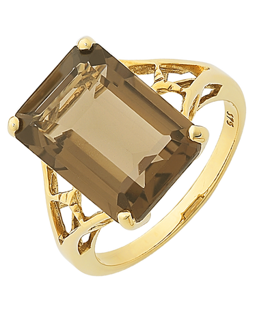 Smokey Quartz Ring - Yellow Gold Smokey Quartz and Diamond Ring - 121642