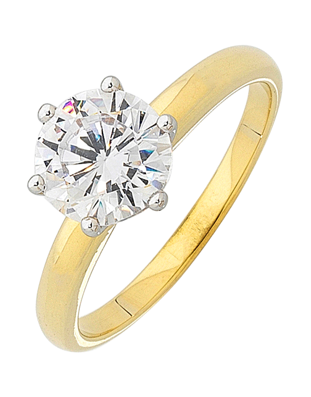CZ Ring - 9ct Yellow Gold Cubic Zirconia Solitaire Ring - 121657 - Salera's Melbourne, Victoria and Brisbane, Queensland Australia
