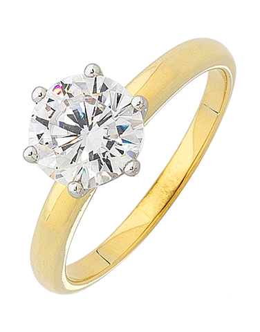 CZ Ring - 9ct Yellow Gold Cubic Zirconia Solitaire Ring - 121657