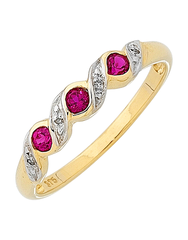 Ruby Ring - Yellow Gold Ruby and Diamond Ring - 121732