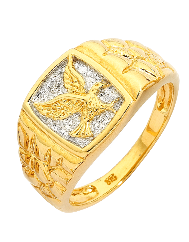 Men's Ring - 9ct Yellow Gold Diamond Set Eagle Signet Ring - 152368 - Salera's Melbourne, Victoria and Brisbane, Queensland Australia