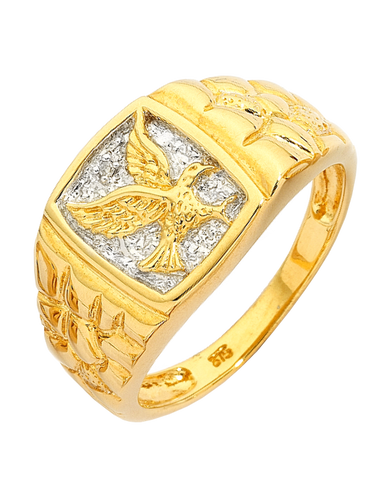 Men's Ring - Yellow Gold Diamond Set Eagle Signet Ring - 152368