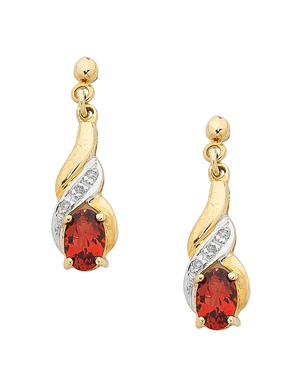 Garnet Earrings - Yellow Gold Garnet and Diamond Set Drop Earrings - 160338 - Salera's Melbourne, Victoria and Brisbane, Queensland Australia