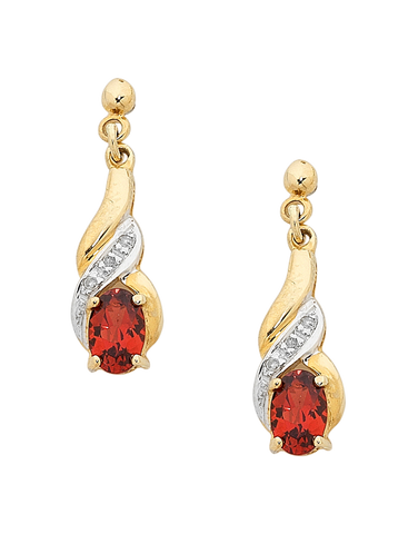 Garnet Earrings - Yellow Gold Garnet and Diamond Set Drop Earrings - 160338