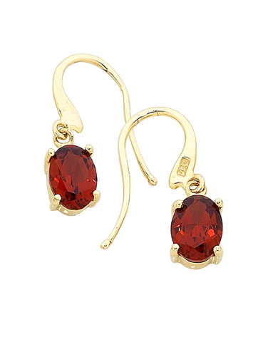 Garnet Earrings - Yellow Gold Garnet Drop Earrings - 160349