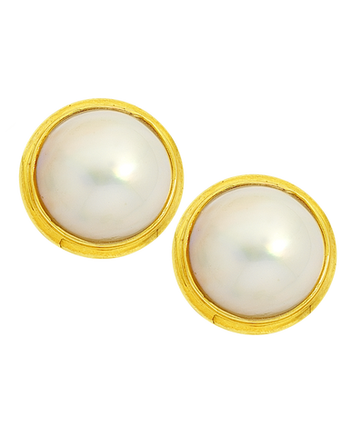 Pearl Earrings - Yellow Gold Mabe Pearl Studs - 160465