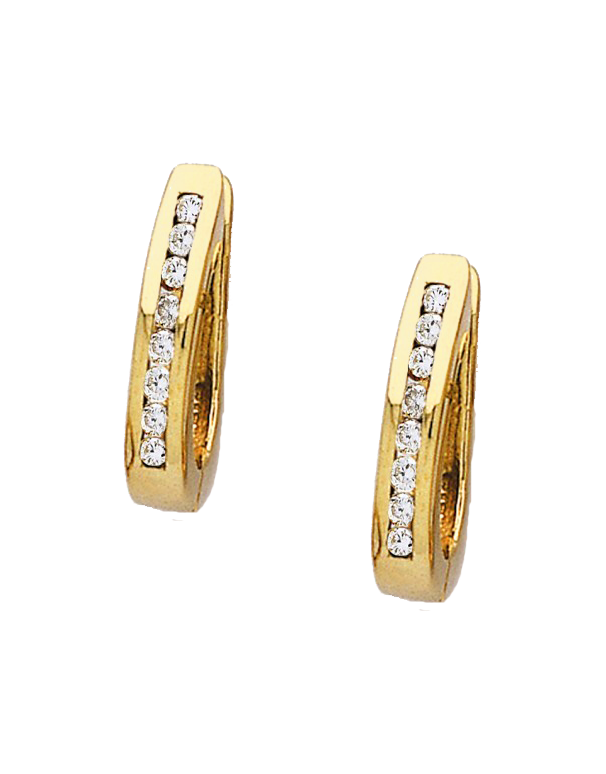 Diamond Earrings - Diamond Set Yellow Gold Hoops - 171095 - Salera's Melbourne, Victoria and Brisbane, Queensland Australia
