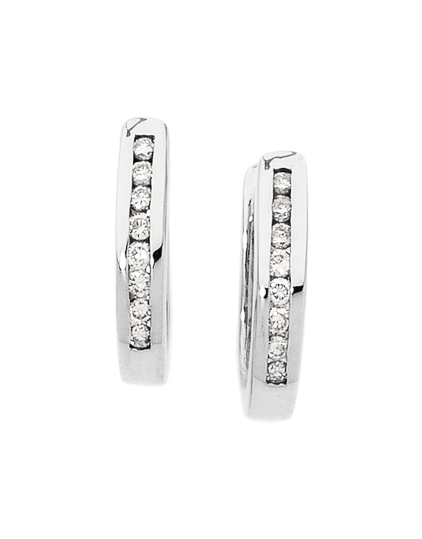 Salera's Diamond Earrings - Diamond Set White Gold Hoops - 171208 - Salera's Melbourne, Victoria and Brisbane, Queensland Australia