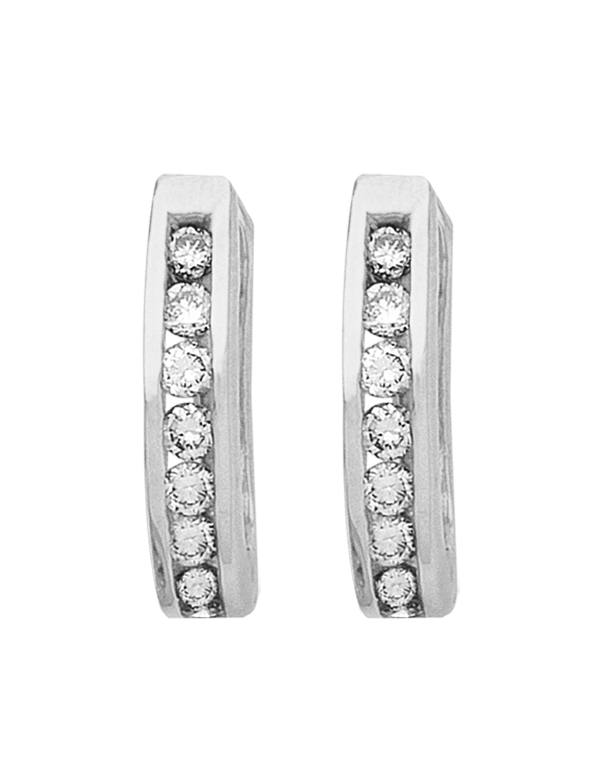 Diamond Earrings - Diamond Set White Gold Hoops - 171209 - Salera's Melbourne, Victoria and Brisbane, Queensland Australia