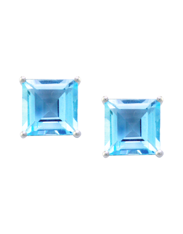 Blue Topaz Earrings - White Gold Blue Topaz Stud Earrings - 190583