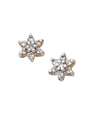 Diamond Earrings - Diamond Set Two Tone Gold Earrings - 190661