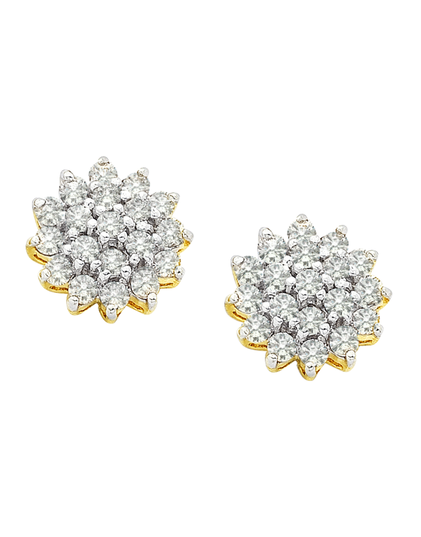 Diamond Earrings - Diamond Set Two Tone Gold Earrings - 190697 - Salera's Melbourne, Victoria and Brisbane, Queensland Australia