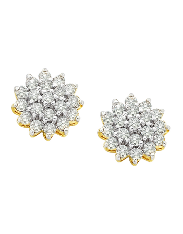 Diamond Earrings - Diamond Set Two Tone Gold Earrings - 190697