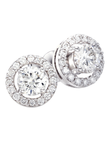 Rand - White Gold Diamond Halo Stud Earrings - R19074W