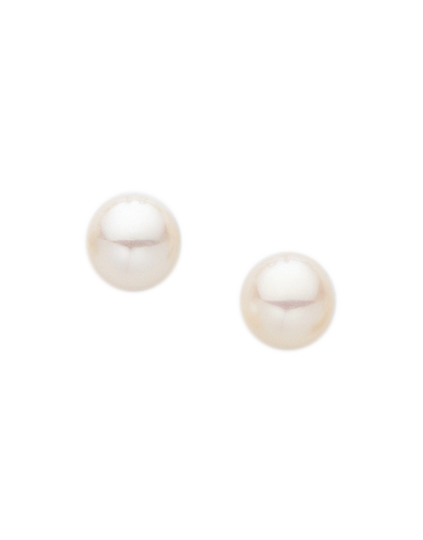 Pearl Earrings -  Freshwater Pearl Studs on Yellow Gold - 210012 - Salera's Melbourne, Victoria and Brisbane, Queensland Australia
