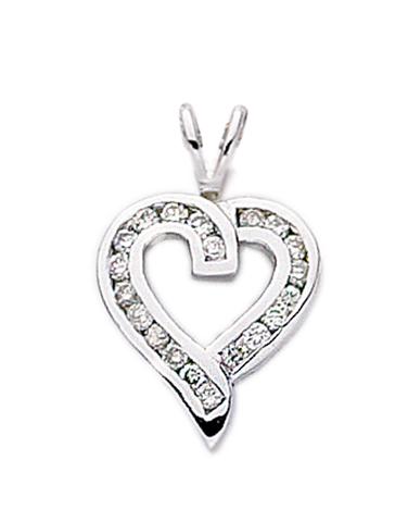 Diamond Pendant - White Gold Diamond Heart Pendant - 400171