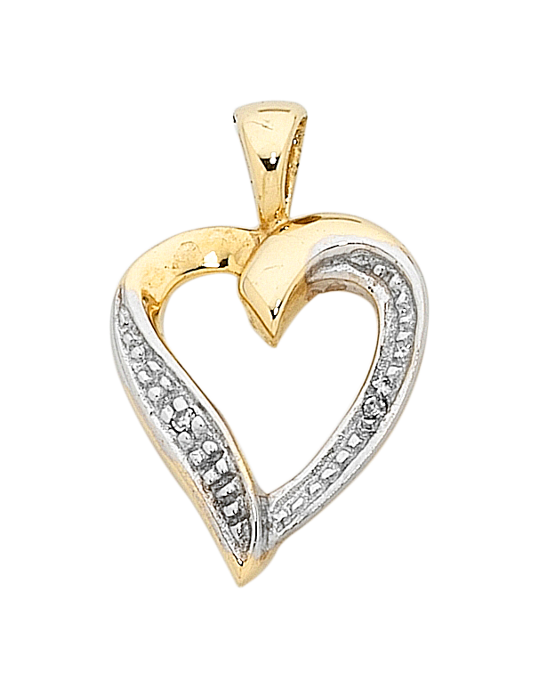 Diamond Pendant - Two Tone Gold Diamond Set Pendant - 400203 - Salera's Melbourne, Victoria and Brisbane, Queensland Australia