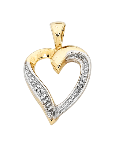 Diamond Pendant - Two Tone Gold Diamond Set Pendant - 400203