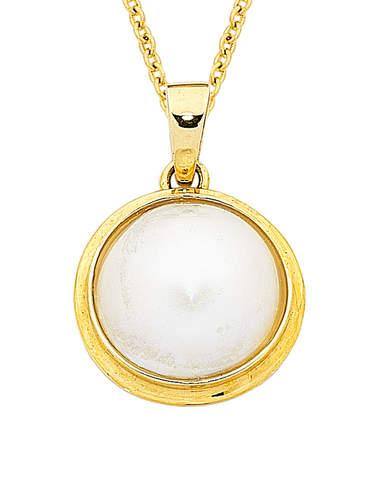 Pearl Pendant - Yellow Gold Mabe Pearl Pendant - 410988