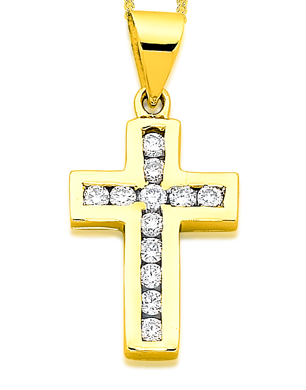 Diamond Cross - 9ct Yellow Gold Diamond Cross - 431047 - Salera's Melbourne, Victoria and Brisbane, Queensland Australia
